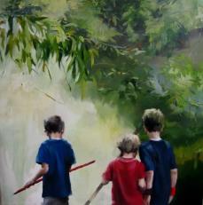 La busqueda, 130x130cm, óleo sobre lienzo