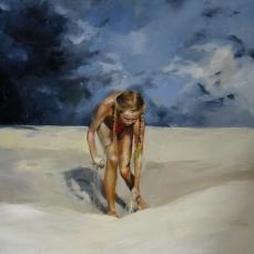 Tormenta y arena, 80x80cm, óleo sobre lienzo