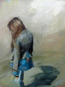 Sobre una pierna, 100x81cm, óleo sobre lienzo