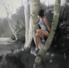 El salto, 130x130cm, óleo sobre lienzo