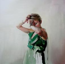 Green dress, 80x80cm, óleo sobre lienzo